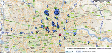 A visualisation of tweets mentioning a UK postcode and the #londonriots hashtag... | London riots maps | Scoop.it