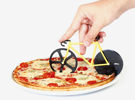 fixie pizza cutter slices with its rotating bicycle wheels - Designboom | Gear for Cyclists | Scoop.it
