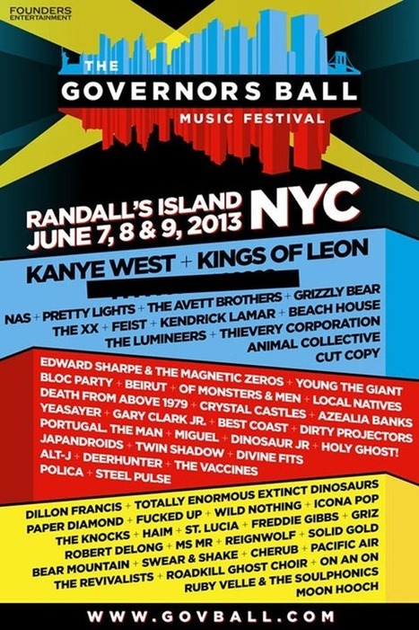 NYC's 2013 Governors Ball Music Festival Lineup Announced... | ...Music Festival News | Scoop.it