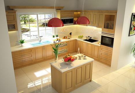 Tủ bếp gỗ tự nhiên TBL05.   bepankhanggiare   Scoop.it