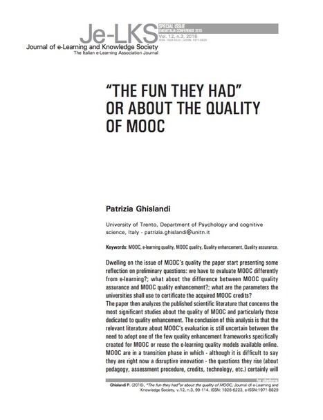 """The fun they had"" or about the quality of MOOC 