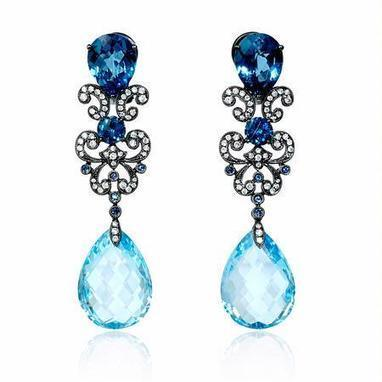 Diamond, Blue Sapphire and Blue Topaz Antique Style 18k White Gold and Black Rhodium Dangle Earrings | Exquisite Earrings | Scoop.it