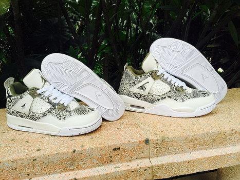 Nike Air Jordan 4 White Army Green Snakeskin Leather Basketball Sneaker,Cheap nike air jordan 4 retro white army green snakeskin sneaker online sale | nike sneaker store | Scoop.it