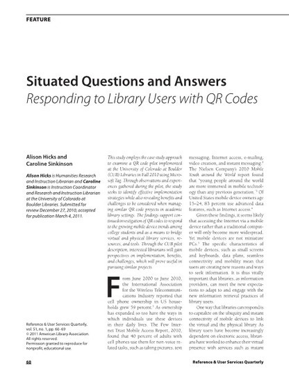 RUSA - Journal Article :  Situated Questions and Answers--Responding to Library Users with QR Codes | Embedded Librarianship | Scoop.it
