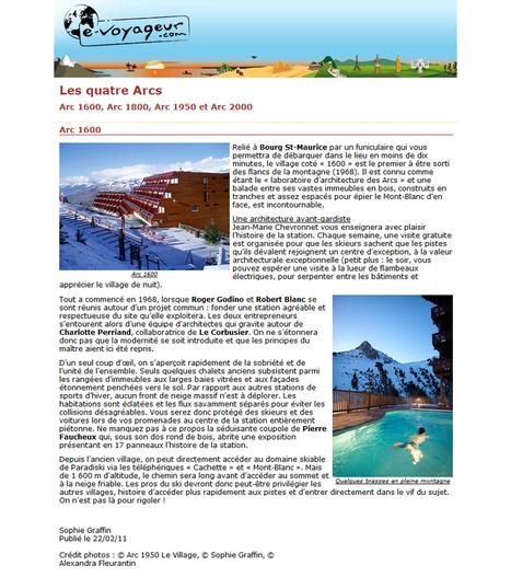 Les quatre Arcs - Arc 1600 | février 2011 | e-voyageur.com | ARTIS MIRABILIS : toute la revue de presse | Scoop.it