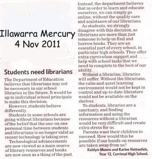 Students support teacher librarians | SchoolLibrariesTeacherLibrarians | Scoop.it