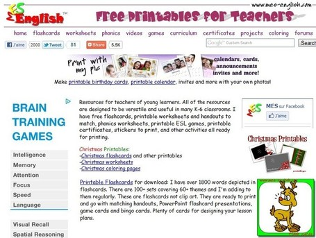 Free Printables for Teachers | flashcards, printable games, worksheets templates, phonics materials, ESL printables, conversational activities | Reading and Writing Connection | Scoop.it