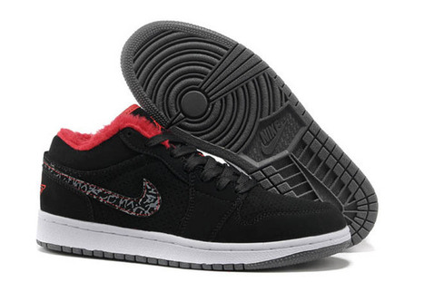 Air Jordan 1 Suede Shoes with Black Red and Grey - Men Red fur Winter Shoes | my style | Scoop.it