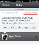 Oprah Tweets Her Love For Microsoft Surface Using An iPad | TechCrunch | News and Current Affairs | Scoop.it