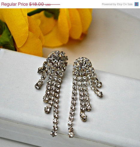 Vintage Rhinestone Dangle Pierced Earrings   Vintage Jewelry   Scoop.it