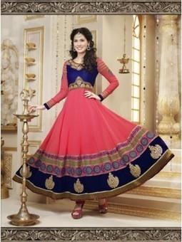 Annona Pink And Blue Georgette Designer Anarkali Suit 9809 | Online Suit Salwar Kameez |  Suit Price| Suit Sale | Apparel | Women Suit | Scoop.it