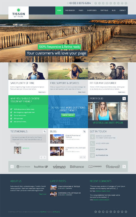 Tisson, WordPress Retina Ready Business Portfolio Theme | WP Download | wordpress | Scoop.it