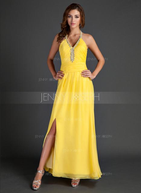 [€ 110.69] A-Line/Principessa A bikini full-length Chiffona Abito Festivi con Increspature Perline Spacco sul davanti (020015530)   wedding dress   Scoop.it
