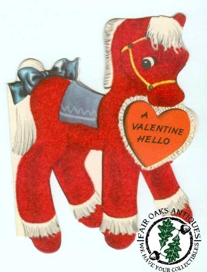 Vintage red flocked horse valentine. | Antiques & Vintage Collectibles | Scoop.it
