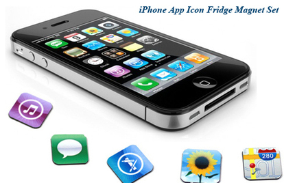 $9 iPhone App Icon Fridge Magnet Set I $31 for 18K Gold-Plated Necklace and Bracelet | IPHONE PACK | Scoop.it