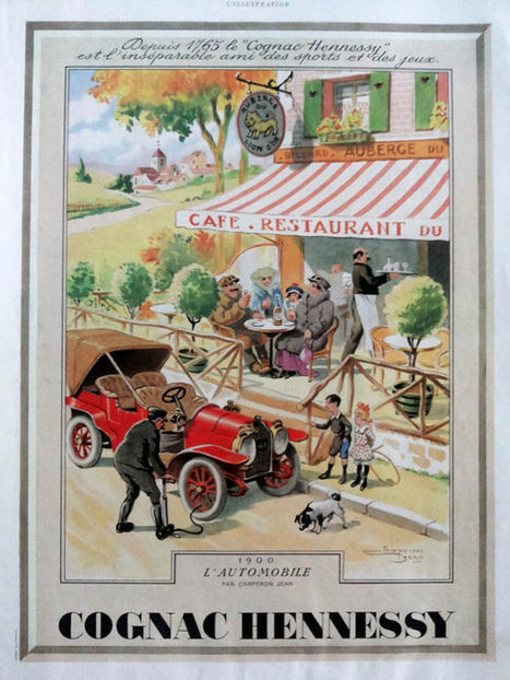 Cognac Hennessy advertisement, original art deco poster A3, vintage ad 1939 L'Automobile by Jean Chaperon advertising from French magazine | Charming guest mansion in Charente | Scoop.it
