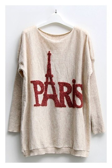 Batwing Sleeves Jumper with Paris Eiffel Tower Print - OASAP.com | Sweaters and Cardigans | Scoop.it