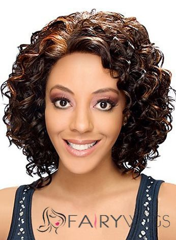 Pretty Medium Wavy Brown No Bang African American Lace Wigs for Women 14 Inch : fairywigs.com | African American Wigs | Scoop.it
