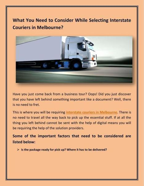Tips for Choosing Interstate Couriers in Melbourne?   e-go   Scoop.it