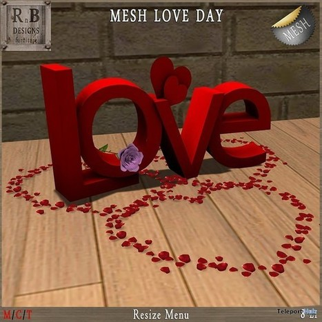 Mesh Love Day Valentine 2016 Group Gift by RnB Furniture | Teleport Hub - Second Life Freebies | Second Life Freebies | Scoop.it