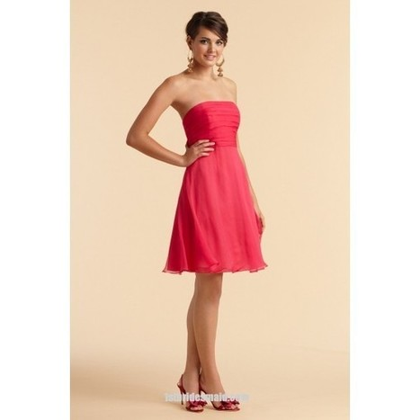 A-line Knee-length Chiffon Strapless Bridesmaid Dress with Pleats(BD0482)   dressmebridal   Scoop.it