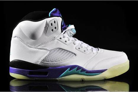 "Glow Shoes: Michael Jordan V ""Grape"" with White/New Emerald/Grape Ice/Black Colorways - Men Style 