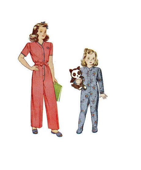Simplicity 4545 Sewing Pattern 1940s Toddler Pajamas One Piece Romper Feetsie Pjs Union Suit Drop Seat Size 3 Boy Girl | Vintage Sewing Patterns | Scoop.it