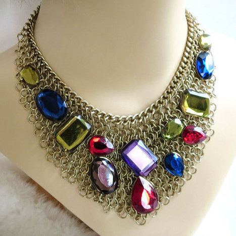 Vintage Large Multi Color Rhinestones Mesh Chain Bib Necklace signed VCLM | Vintage Jewelry and Other Vintage Treasures | Scoop.it