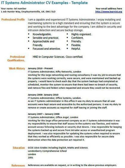 it systems administrator cv example - Uk Cv Examples