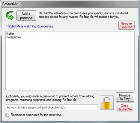 Pratique : Relancer automatiquement les programmes Windows, ReStartMe | Administration Système | Scoop.it