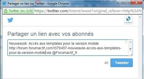 Nouveauté: Bouton Twitter sur les forums | Forumactif | Scoop.it