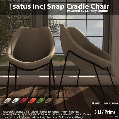 New Release: Snap Cradle Chair by [satus Inc] | Teleport Hub - Second Life Freebies | Second Life Freebies | Scoop.it