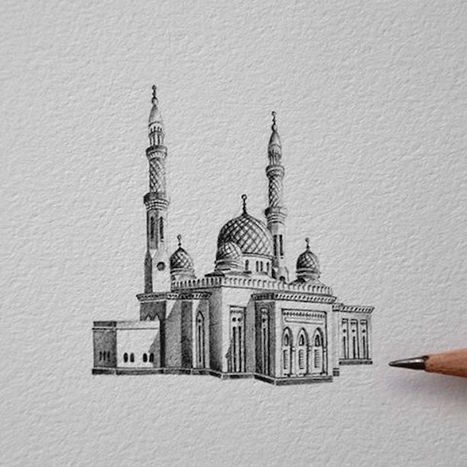 #Intricately #Miniature #Drawings of  #Mosques. #art #buildings #architecture | Luby Art | Scoop.it