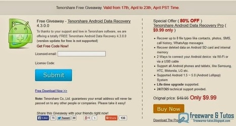 Offre promotionnelle : Tenorshare Android Data Recovery gratuit (jusqu'au 23 avril) ! | Freewares | Scoop.it