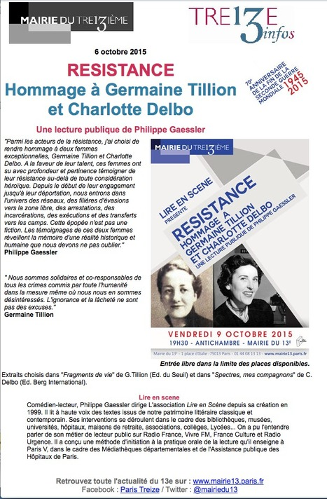 [RESISTANCE] Hommage à Germaine Tillion et Charlotte Delbo : Une lecture publique de Philippe Gaessler   Le BONHEUR comme indice d'épanouissement social et économique.   Scoop.it