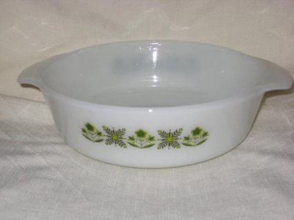 """Reviews Vintage Anchor Hocking Fire King """" Meadow Green """" 1 1/2 Quart Round Casserole Baking Dish 