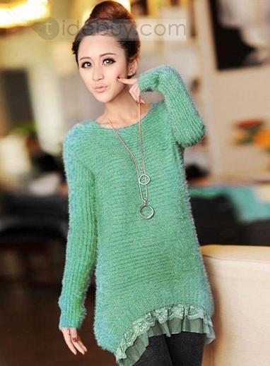 Latest Round Neckline Lace Hem Ornament Knit Pure Color Sweet New Arrival Sweater | modern time | Scoop.it