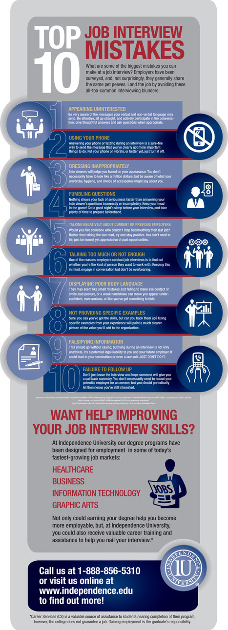 Avoid These Top 10 Job Interview Mistakes [INFOGRAPHIC] | Bcar Telecom ParisTech | Scoop.it