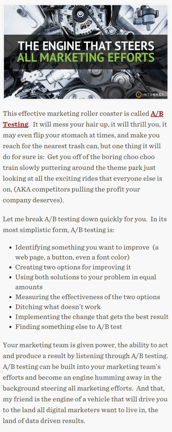 The Engine That Steers All Marketing Efforts: A/B Testing - Inturact | The Marketing Technology Alert | Scoop.it