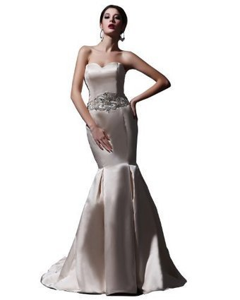 Swan Mate Champagne Mermaid Beading Sweetheart Strapless Satin marriage ceremony dress, US14 | from my desk | Scoop.it