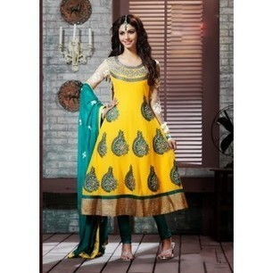 Aava Yellow Georgette Anarkali Churidar Kameez with Dupatta-8027 | Buy online Shopping in India Apparel, Watches, Sunglasses | Scoop.it