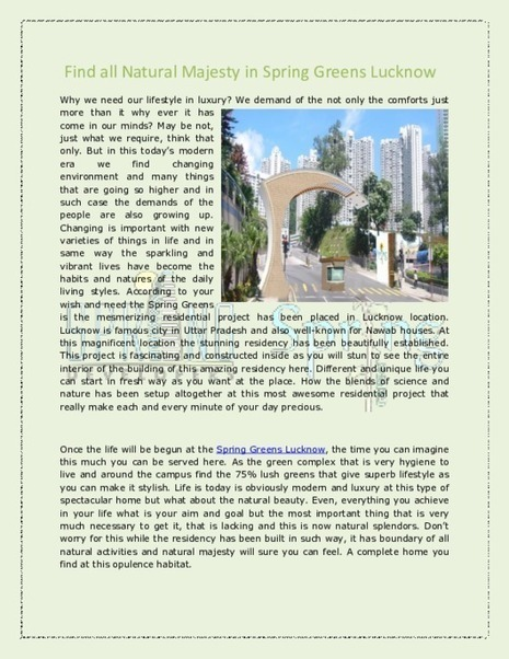 Spring Greens Faizabad Road Lucknow | Spring Greens Lucknow | Residential Property in India | Scoop.it