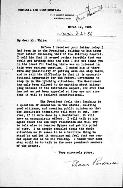 Eleanor Roosevelt's letter to Walter White detailing the First Lady's lobbying efforts for federal action against lynchings, 19 March 1936 | To Kill a Mockingbird | Scoop.it
