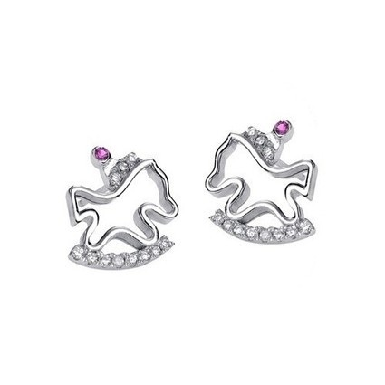 Childhood Memory Silver Wooden Horse Crystal Earrings Perfect Gift | Women's Earrings | Scoop.it