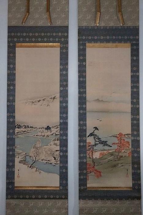 vends Paire De Véritables Kakejikus Japonais (Kakemono) De Hiroshige Avec Boite En Paulownia  - paris-vente-veritables-estampes-objets-art-japon.overblog.com | estampes japonaises | Scoop.it