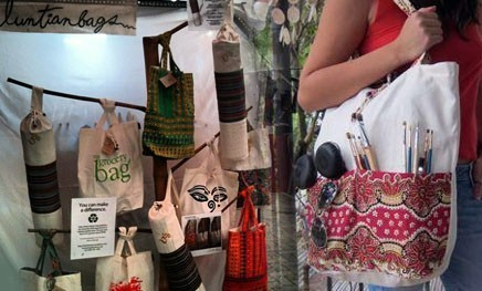 "Luntian Bags: A livelihood program that provides jobs for unemployed women (""going green creates jobs"") 