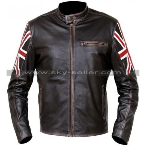 UK Flag Cafe Racer Distressed Brown Jacket   Sky-Seller : Men Leather Jackets   Scoop.it