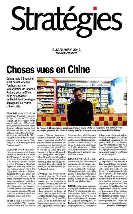 "INTERVIEW STRATEGIES:                         ""CHOSES VUES EN CHINE"" 