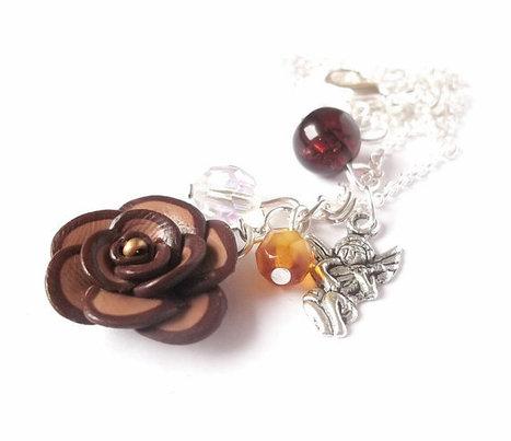 Silver Jewelry Swarovski Amber Beads Polymer Clay Rose, Sterling Silver Necklace Earrings Elegant Jewlry Brown Orange | Jewlery | Scoop.it