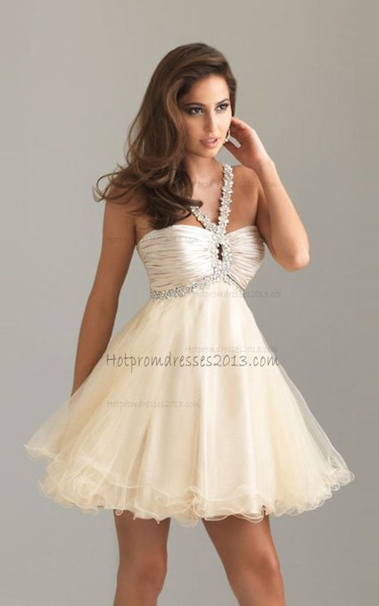 Halter Beaded Straps Baby Doll Nude Short Chiffon Dress [Halter baby doll dress] - $156.00 : Discount Dresses for Prom 2013,Up 50% Off   fashion   Scoop.it